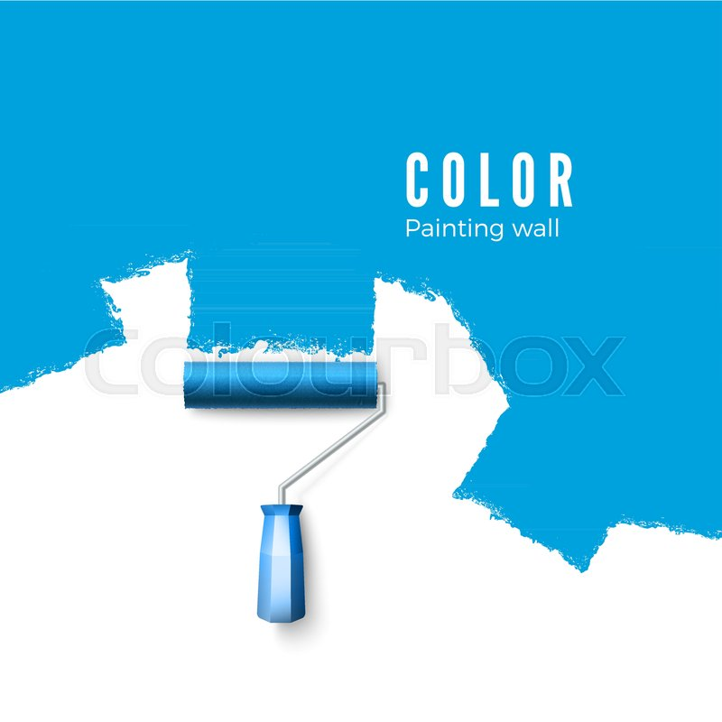 Paint roller brush  Paint texture when     | Stock vector