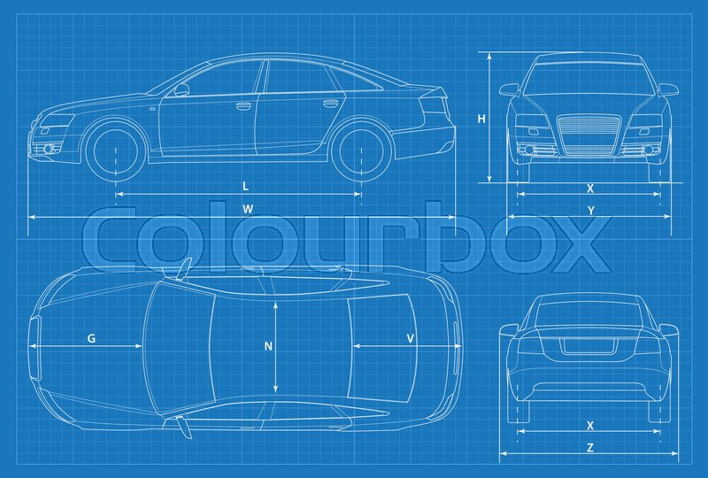 Car schematic or car blueprint vector illustration sedan car in stock vector of car schematic or car blueprint vector illustration sedan car in malvernweather Choice Image