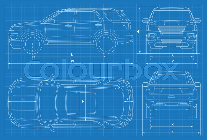 Off-road car schematic or suv car blueprint. Vector illustration ...
