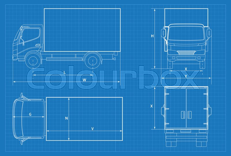 Delivery truck schematic or van car blueprint vector illustration stock vector of delivery truck schematic or van car blueprint vector illustration truck malvernweather Image collections