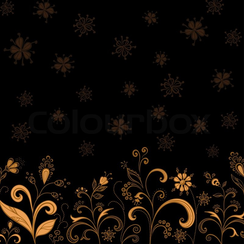 Abstract Floral Background Symbolical Gold Flowers On Black