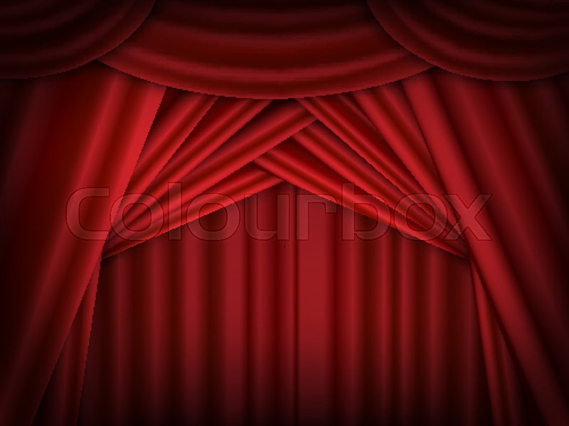 Stock Vector Of Red Stage Curtains Open Drapes Reflected Design