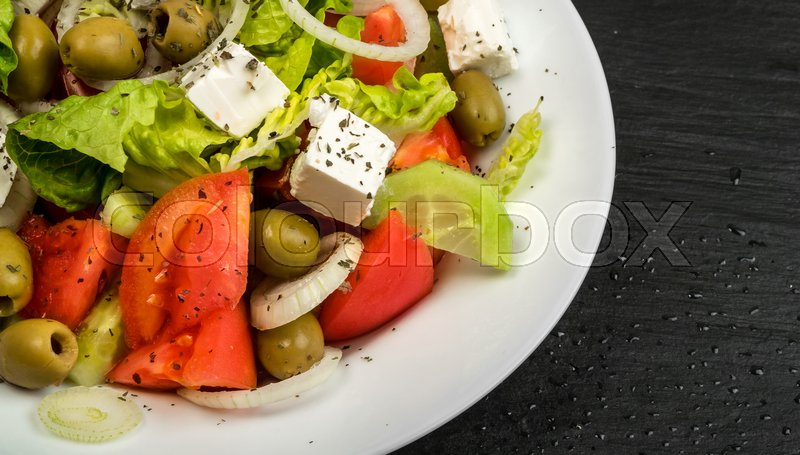 Greek Salad On White Plate Closeup And Stock Image