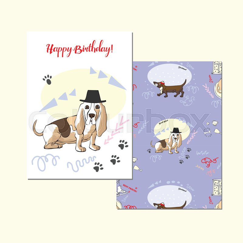 Greeting Card With Basset Hound Hand Drawn Sketches Dog Symbol