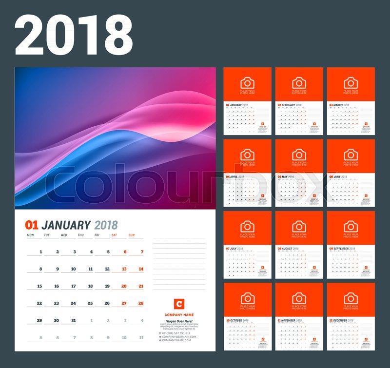 Wall Calendar Template For 2018 Year Stock Vector Colourbox
