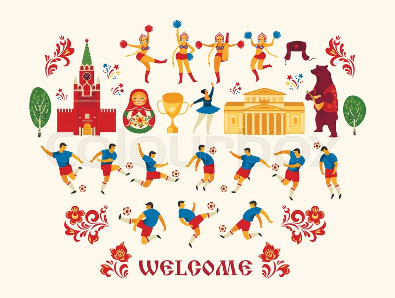 big football set in russian style soccer players cheerleaders girls and russian symbols vector illustration stock vector colourbox