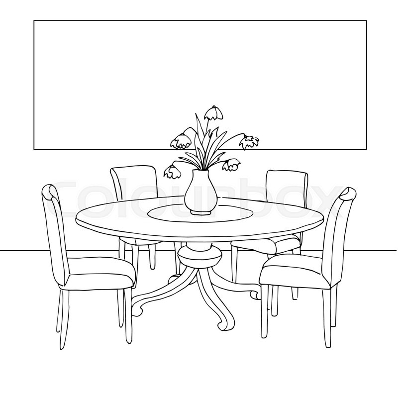 Part Of The Dining Room Table And Stock Vector Colourbox
