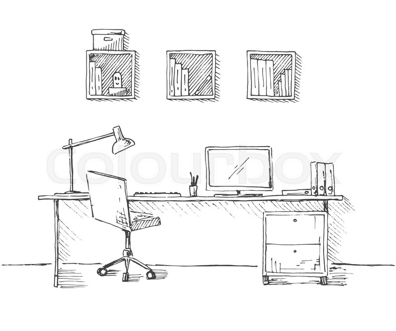 Surprising Sketch The Room Office Chair Desk Stock Vector Onthecornerstone Fun Painted Chair Ideas Images Onthecornerstoneorg