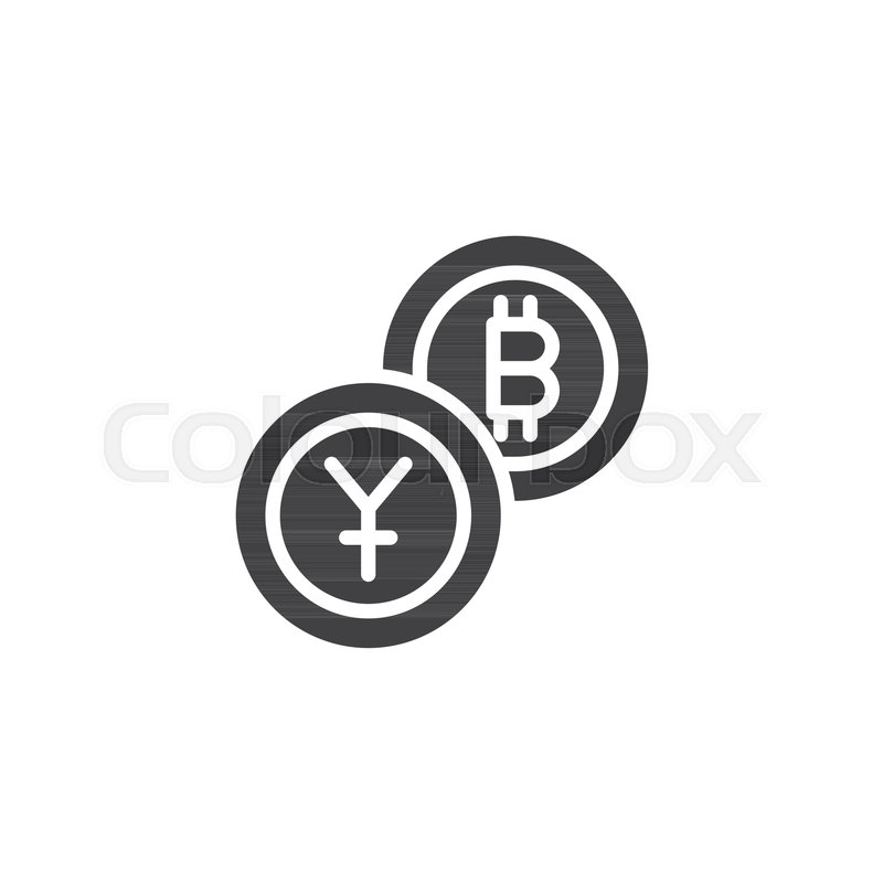 Yuan Exchange To Bitcoin Vector Icon Filled Flat Sign For Mobile