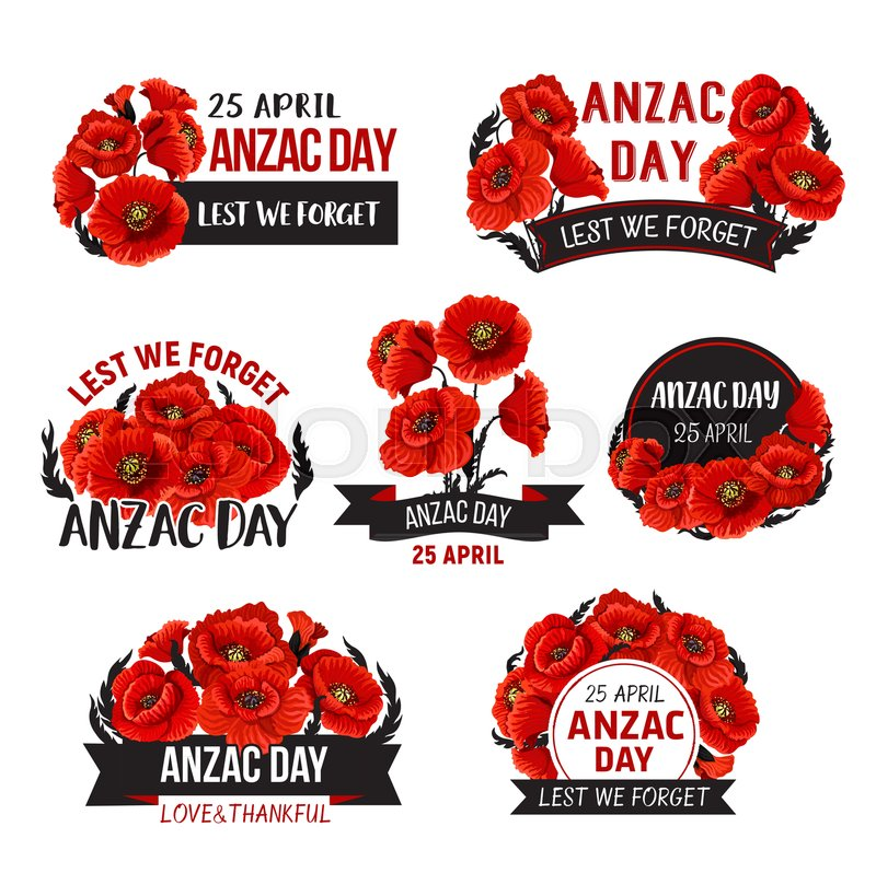 Anzac Day Icons Of Red Poppy Flowers For 25 April Australian And New