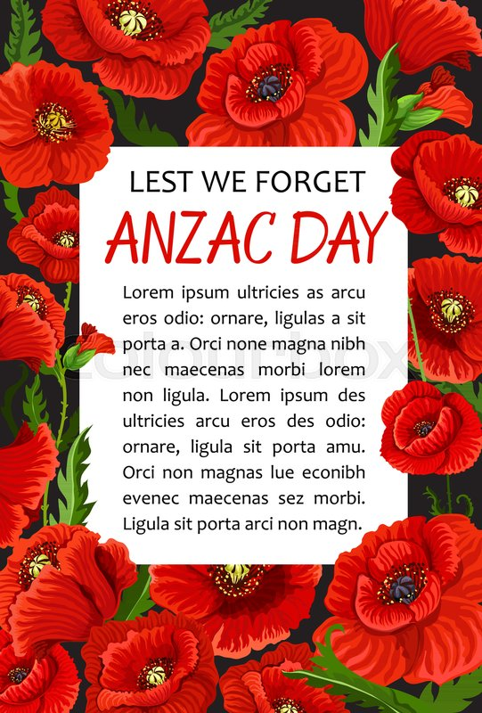 Anzac day lest we forget greeting card of poppy flowers wreath for anzac day lest we forget greeting card of poppy flowers wreath for 25 april australian and new zealand war remembrance anniversary vector anzac day poppy mightylinksfo