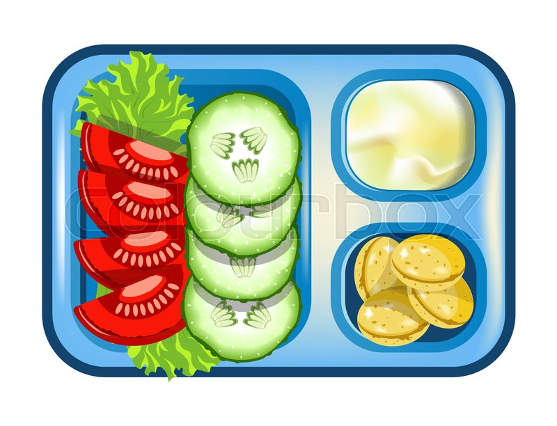 Lunch box with meals of vegetables     | Stock vector