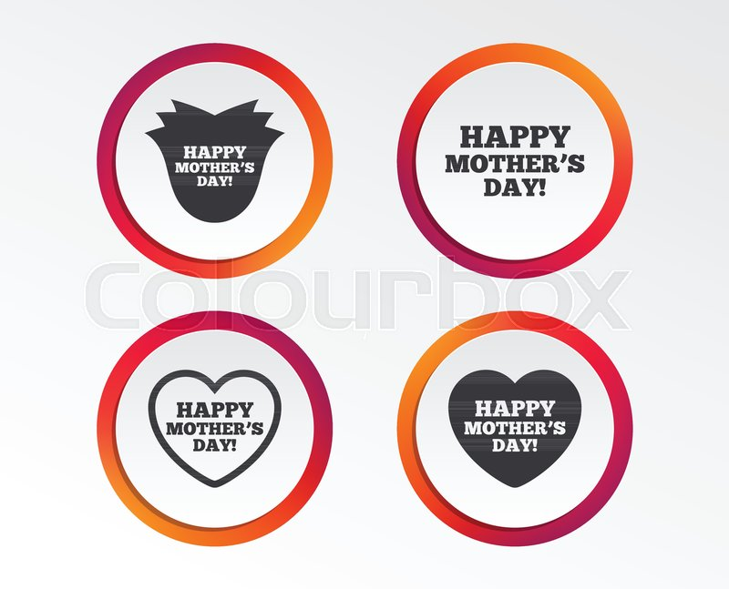 Happy Motherss Day Icons Mom Love Heart Symbols Flower Rose Sign