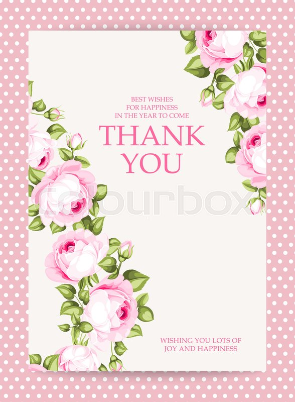 Invitation text card with thank you sign blooming rose garland at invitation text card with thank you sign blooming rose garland at the left side of invitation card isolated over white background with pink border vector stopboris Image collections
