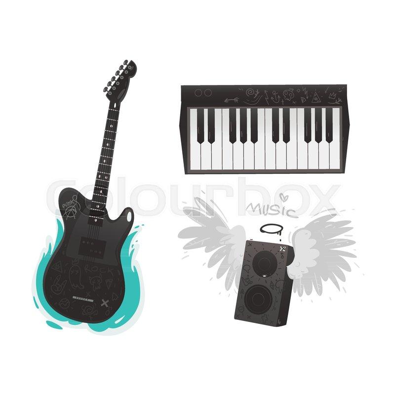 Vector Flat Music Symbols Set Electric Guitar Loudspeaker With
