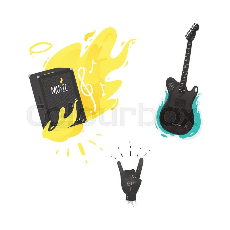 Vector Flat Music Symbols Set Guital Amplifier Louspeaker Burning