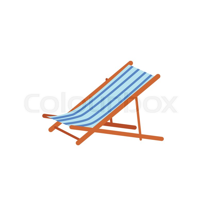Striped Lounge Chair, Tanning Bed   Summer Beach Vacation Symbol, Flat  Cartoon Vector Illustration Isolated On White Background.