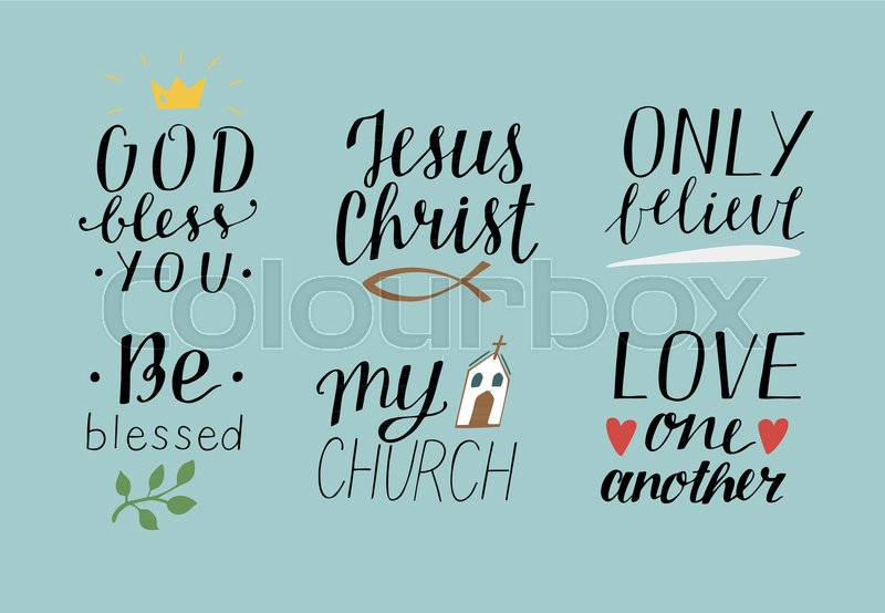 Love One Another Quotes Classy Set Of 48 Hand Lettering Christian Quotes God Bless You Jesus Christ
