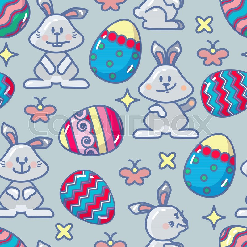 Vector Seamless Pattern With Easter Icon Abstract Colorful Egg And Bunny In Outline Style Isolated On Blue Background Holiday Flat