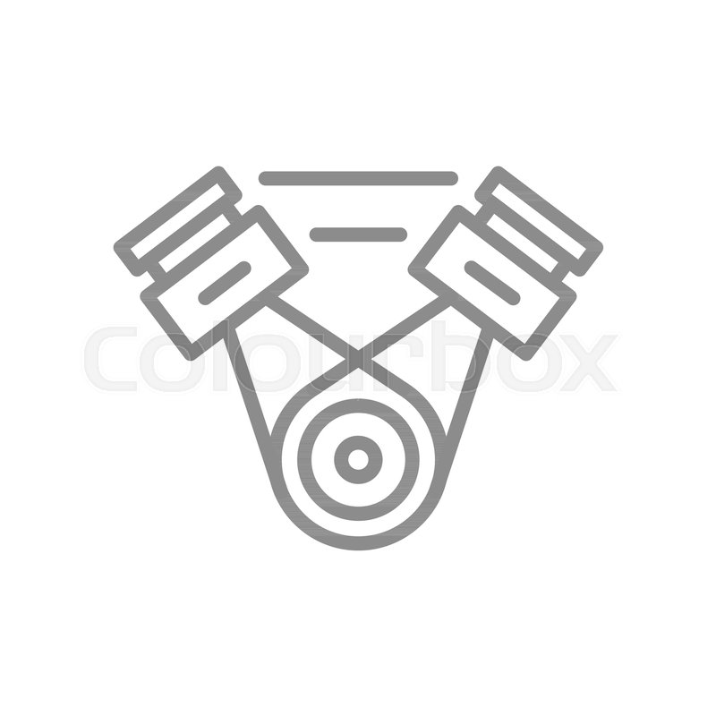Simple Car Engine Motor Line Icon Symbol And Sign Vector