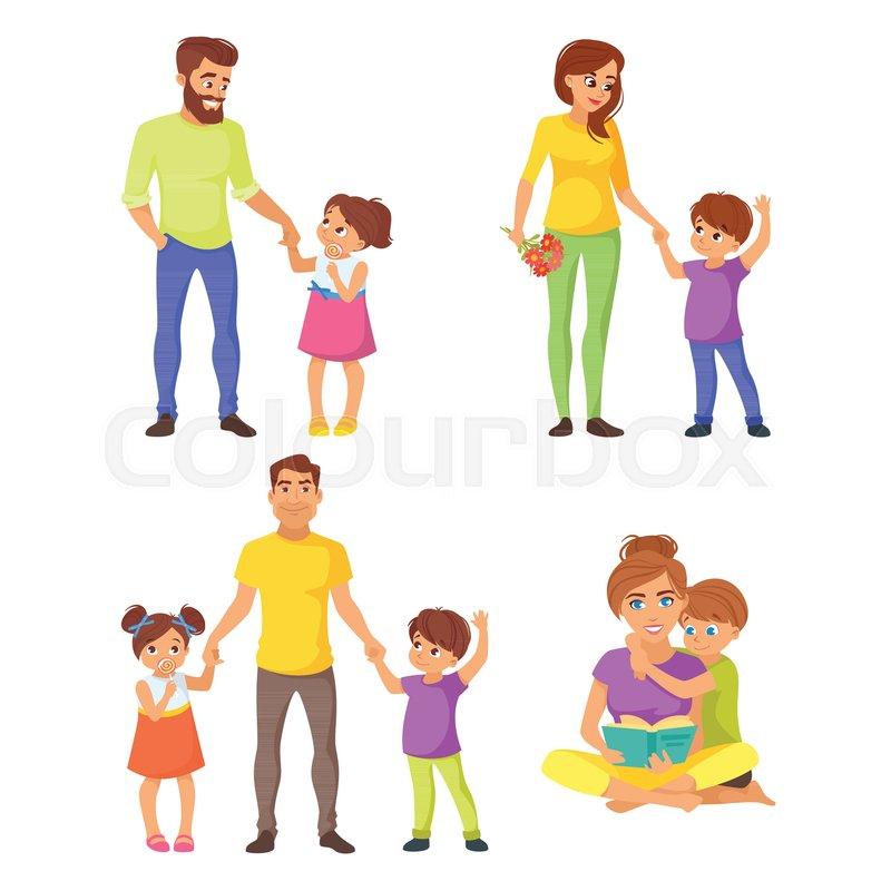 Vector Cartoon Style Illustration Of Caucasian Family