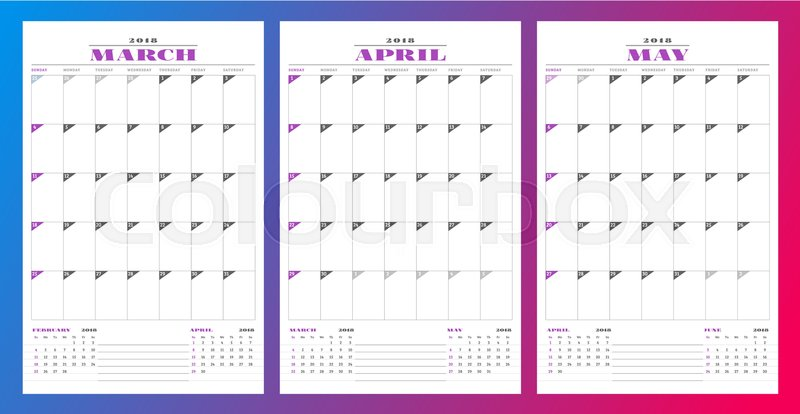 stock vector of calendar planner template for spring 2018 march april may