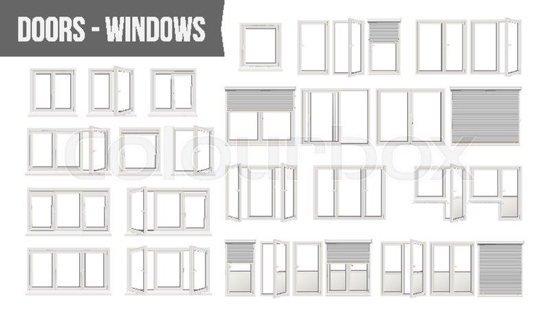 Plastic PVC Windows Doors Set Vector. Different Types. Roller Blind ...