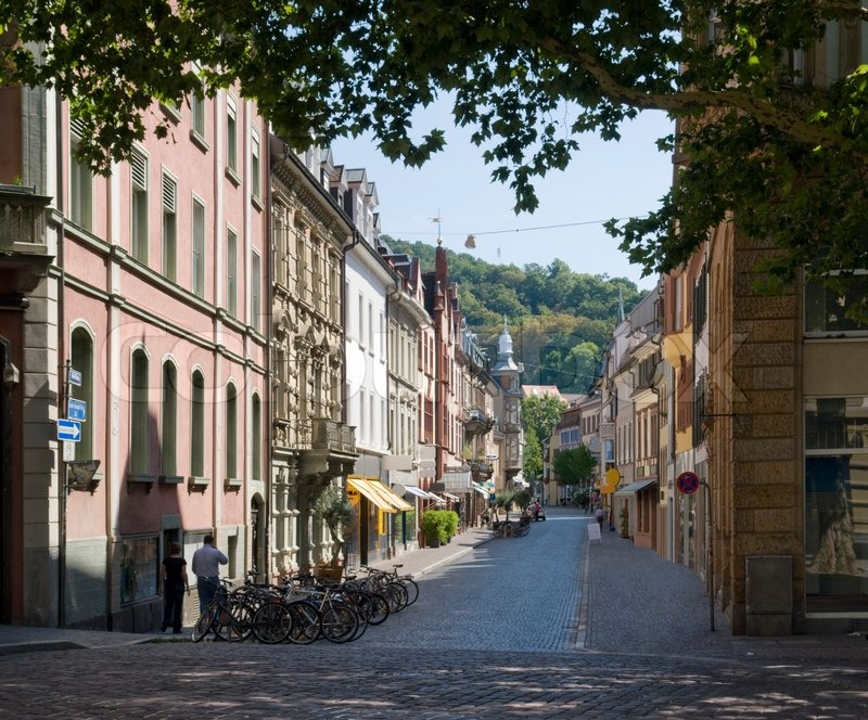 city view of freiburg im breisgau a town in southern germany at summer time stock photo. Black Bedroom Furniture Sets. Home Design Ideas