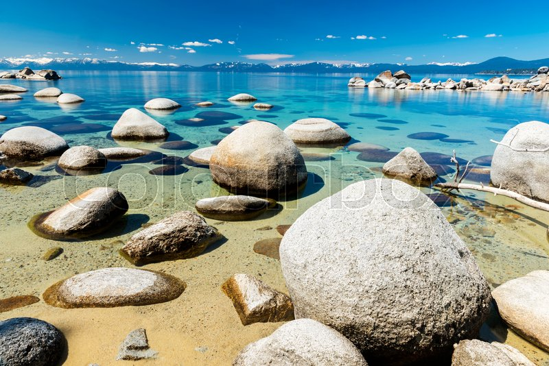 Beautiful Boulders And Crystal Clear Water Of The Lake Tahoe Hidden Beach Nevada Usa Stock Photo Colourbox