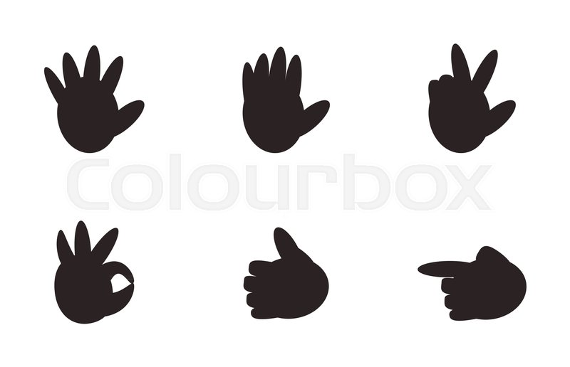 Set Of Hand Gesture Signs Nonverbal Symbols Of Communication Meaning