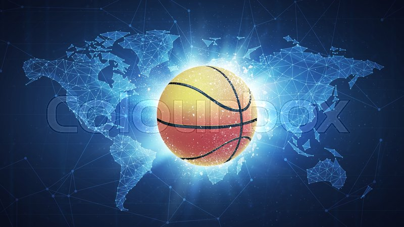 Basketball ball flying in white particles on the background of basketball ball flying in white particles on the background of blockchain technology network polygon world map sport competition concept for basketball gumiabroncs Image collections