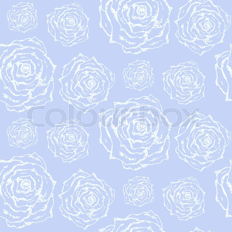 Gentle Blue Vintage Hand Drawn Seamless Pattern With Outline