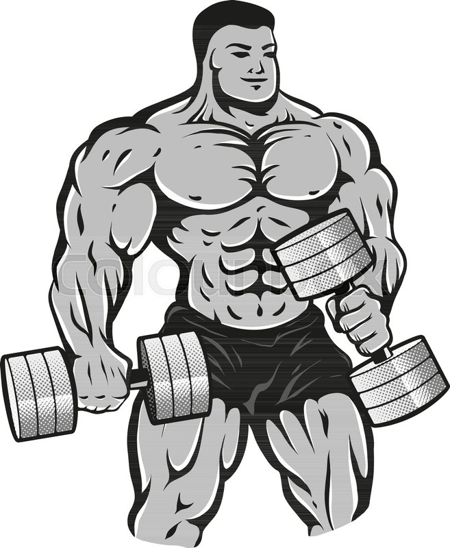 Vector illustration of a bodybuilder with dumbbells - Cartoon body builder ...