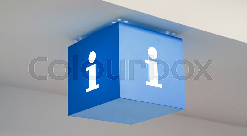 information sign on a blue cube at a business center ideal for