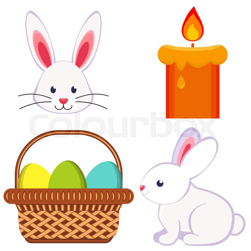 Cartoon Bright Colorful Easter Icon Set Chick Candle Egg Basket. Vector  Illustration For Gift Card, Flyer, Certificate Or Banner, Icon, Logo,  Patch, ...