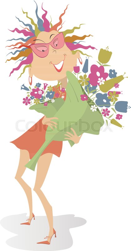 Smiling woman holds a big bouquet of flowers isolated on white ...
