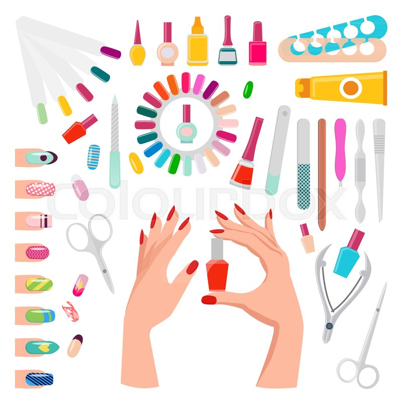 Nail art, poster with samples and tools, hands holding botle with ...