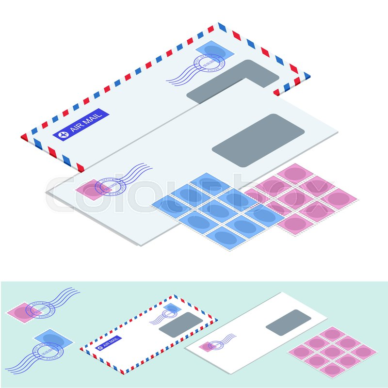 isometric postal envelopes mail envelope stickers stamps and