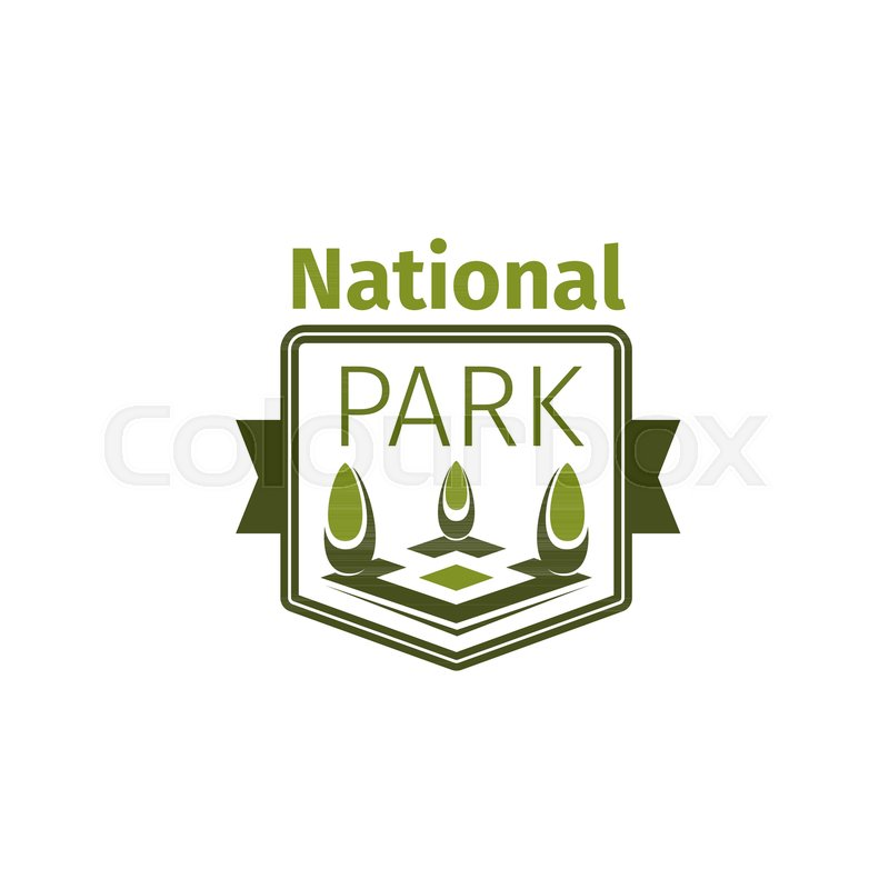 National Park Icon Template For Ecology Nature Square Or City Green