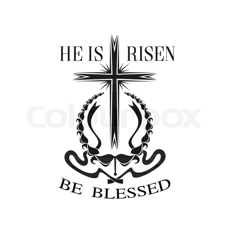 Easter He Is Risen Cross Icon For Resurrection Sunday Christian