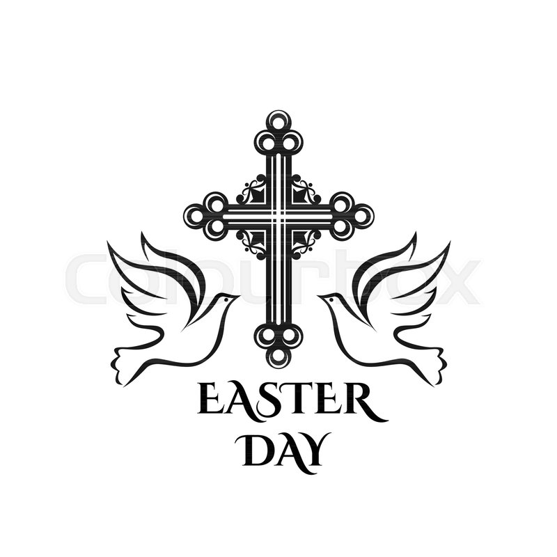 Easter Day Celebration Icon Of Cross Crucifix And Doves For