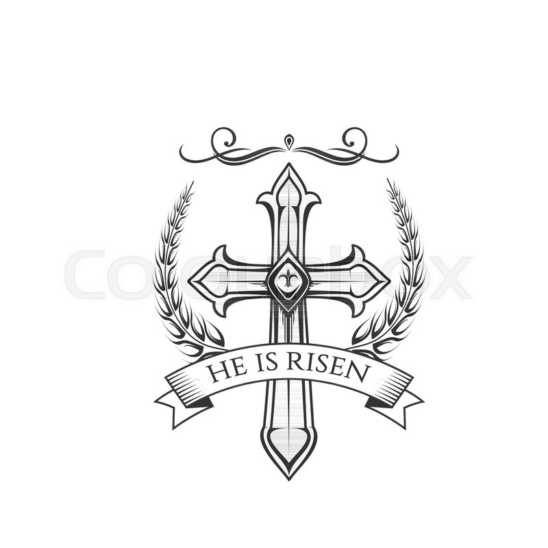 Easter Day Resurrection Sunday Celebration Icon Of He Is Risen Cross