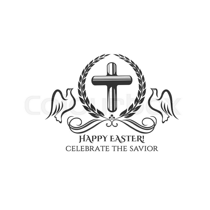 Happy Easter Cross Icon For Easter Day Or Resurrection Sunday