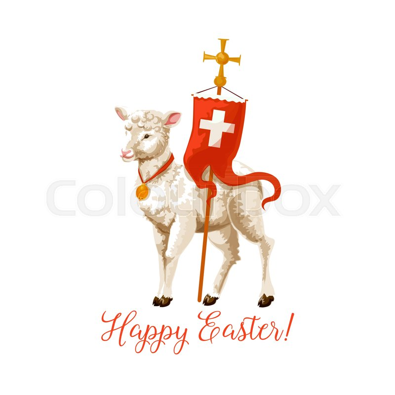 Happy Easter Icon Of Lamb And Cross On Flag For Resurrection Sunday