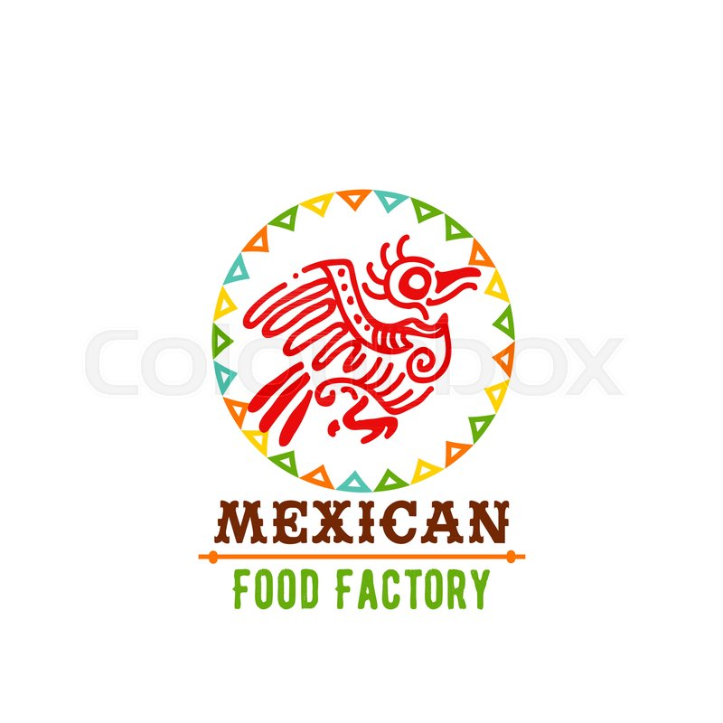 Mexican Cuisine Icon Design Of Aztec Bird And Flags For Mexico