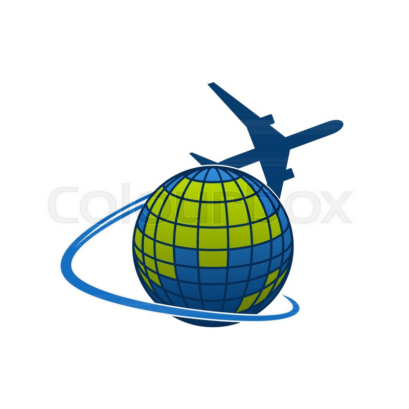 Airplane Flying Around World Globe Icon For Travel Agency Or Transportation And Mail Post Logistics Company Vector Isolated Symbol Of Aircraft Jet Over