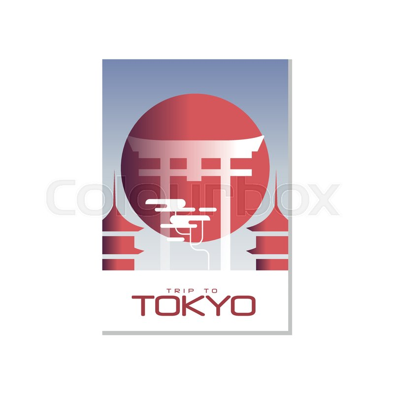 trip to tokyo travel poster template, touristic greeting card, Graphic Presentation Poster Template, Presentation templates