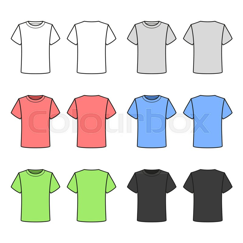 0ba62bb91 Colored T-shirts Set on White ...   Stock vector   Colourbox