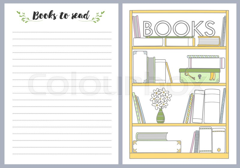 notebook pages template books to read vector stock vector