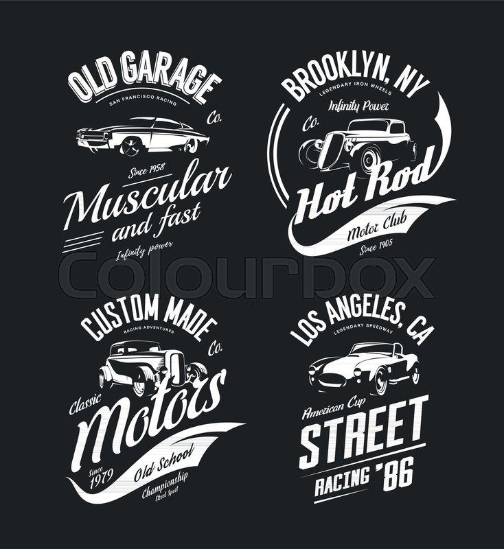 Vintage roadster custom hot rod and muscle car vector tee for Custom car club shirts